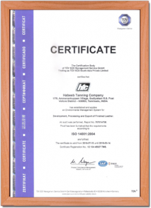 HTC Certificate - ISO 14001-2004