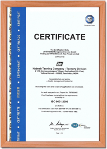 HTC Certificate - Tannery Division